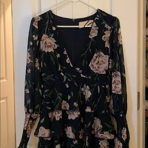 Keepsake Smocked ruffle short mini dress XS